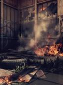 Verlaten bulding in brand — Stockfoto