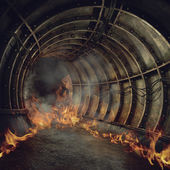 Fire in a tunnel — Stock Photo