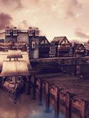 Medieval docks — Stock Photo