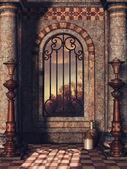 Palace window with vases — Stock Photo