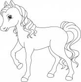 Horse coloring page — Stock Vector