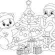 Christmas tree coloring page — Stock Vector #59209733