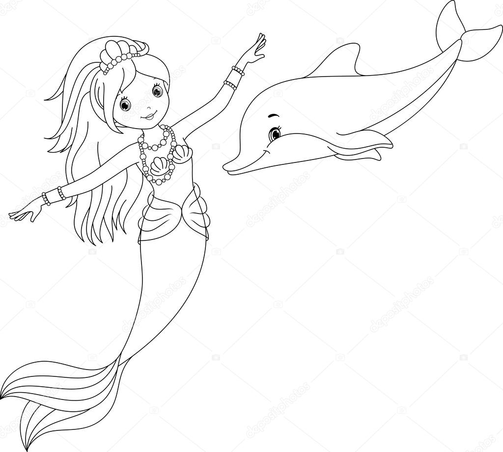Coloring Pages Coloring Pages Of Mermaids And Dolphins mermaid and dolphin coloring page stock vector malyaka 59529859 59529859