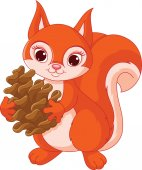 Squirrel with a pine cone — Stock Vector