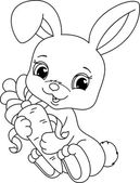 Rabbit coloring page — Stock Vector