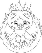 Lion and ring of fire coloring page — Vector de stock