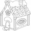 Gingerbread House Coloring Page — Stock Vector #73560441