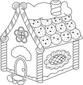 Gingerbread House Coloring Page — Stock Vector