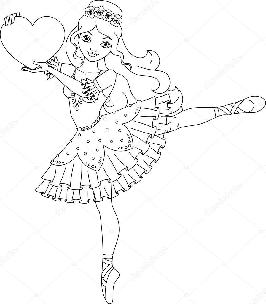 ballerina coloring page stock vector 169 malyaka 74022589