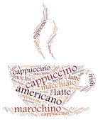 Word cloud illustration related to coffee. — Stock Photo