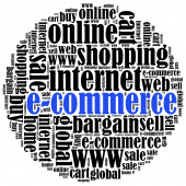 E-commerce or online shopping concept. Word cloud illustration. — Stock Photo