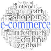 E-commerce or online shopping concept. Word cloud illustration. — Stockfoto
