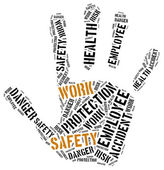 Safety at work concept. Word cloud illustration. — Stock Photo