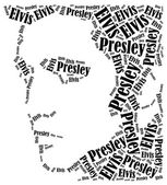 Elvis Presley portrait. Word cloud illustration. — Stock Photo