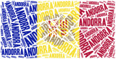 National flag of Andorra. Word cloud illustration. — Stock Photo