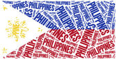 National flag of Philippines. Word cloud illustration. — Stock Photo