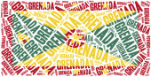 National flag of Grenada. Word cloud illustration. — Stock Photo