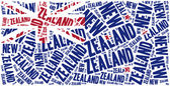 National flag of New Zealand. Word cloud illustration. — Stock Photo
