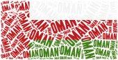 National flag of Oman. Word cloud illustration. — Stock Photo
