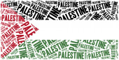 National flag of Palestine. Word cloud illustration. — Stock Photo