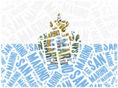 National flag of San Marino. Word cloud illustration. — Stock Photo