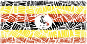 National flag of Uganda. Word cloud illustration. — Stock Photo