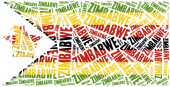 National flag of Zimbabwe. Word cloud illustration. — Stock Photo