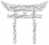 Symbol of Shinto religion. Word cloud illustration. — Fotografia Stock