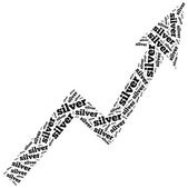 Silver commodity price growth. Word cloud illustration. — Stock Photo