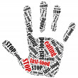 Word cloud illustration in shape of hand print showing protest. — Stock Photo #66588619