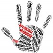 Word cloud illustration in shape of hand print showing protest. — Stock Photo #66588621