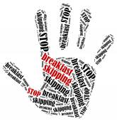 Word cloud illustration in shape of hand print showing protest. — Stock Photo