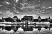 Teutonic Knights in Malbork castle in summer. World Heritage List UNESCO. — Stock Photo