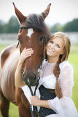 Beautiful smiling woman with horse chestnut — Foto de Stock