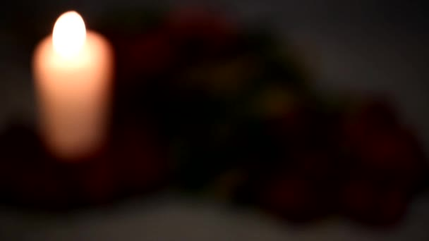 Valentine's Day red roses and candles.Variable focus — Vidéo