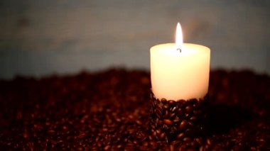 Burning of a candle, coffee beans — Stock Video