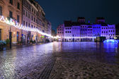 Festively adorned old town square in Warsaw — Stock Photo