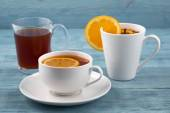 Tea in various dishes — Stock Photo