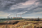 Open pit mine and power plant. HDR - high dynamic range — Stock Photo