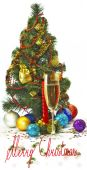 Glass of champagne and Christmas tree — Stock Photo
