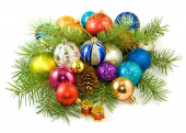 Many of Christmas tree decorations on a white background closeup — Zdjęcie stockowe