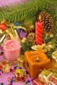Candles and different Christmas decorations — Stockfoto
