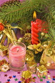 Candles on Christmas decorations — Stockfoto