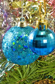 Blue Christmas ball closeup — Stockfoto