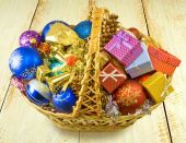 Baskets with Christmas decorations on a table — Stock Photo