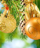 Image of  Christmas decorations on a green background — Stock Photo