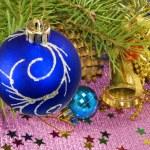 Many bright Christmas toys — Stock Photo #58404305