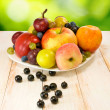 Image of various fruits on a table on green background — Stock Photo #58789145
