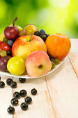 Various ripe fruits on a plate — Stock Photo