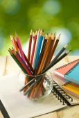 Notebook and pencil on green background  — Foto Stock